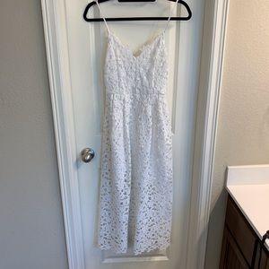 ASTR: White Lace Midi Dress